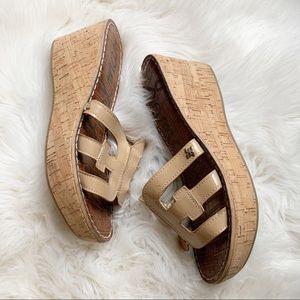 Sam Edelman Tan Patent Leather Platform Sandals